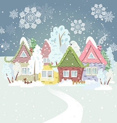 Cute winter cityscape vector