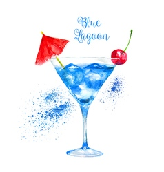 Watercolor blue lagoon cocktail vector