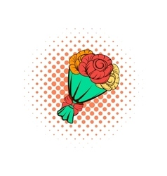 Bouquet of roses comics icon vector