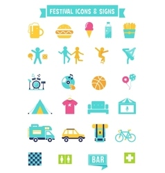 Festival concert and camping flat icons vector