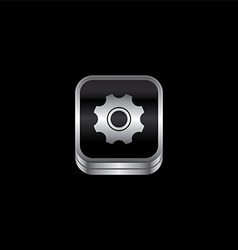 Setting cog metal plate theme icon button vector