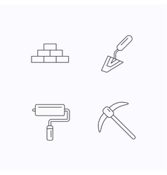 Brickwork spatula and mining icons vector