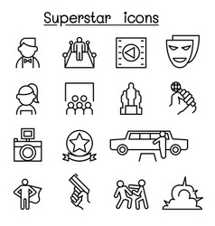 Actor actress celebrity super star icon set in vector