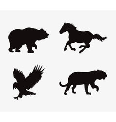 Animal silhouettes horse feline eagle and bear vector