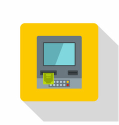 Atm bank cash machine icon flat style vector