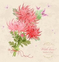 bouquet of beautiful chrysanthemums on a vector image vector image
