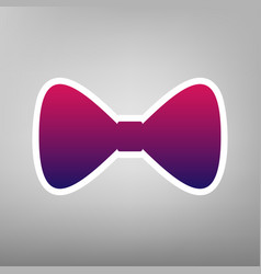 Bow tie icon purple gradient icon on vector