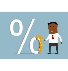 Businessman reducing the loan percent vector image vector image