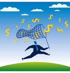 businessmen run to catch the dollar vector image