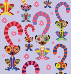 cartoon lemur pattern vector image