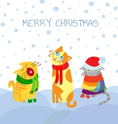 Cats in snow vector image