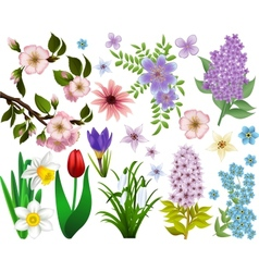 Collection of spring flowers raster version vector