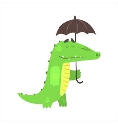 Crocodile walking under rain with umbrella vector