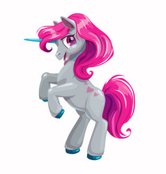 cute cartoon unicorn with pink hair vector image vector image