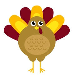 Cute retro thanksgiving turkey isolated on white vector image