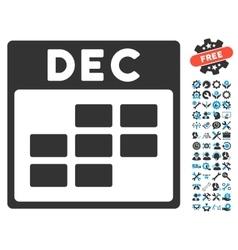 December calendar grid icon with bonus vector