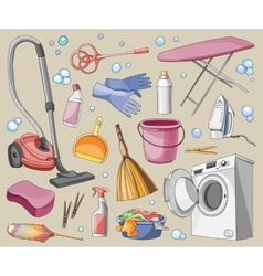 Doodle set of cleanup vector image vector image