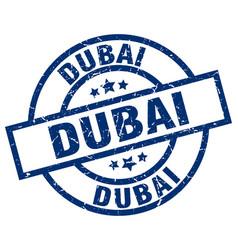 Dubai blue round grunge stamp vector