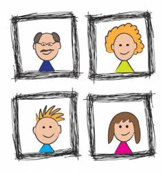 family portrait sketch vector image vector image