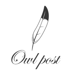 Feather logo owl post vector image