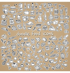 Food icons drawn by hand vector