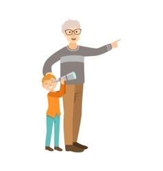 Grandfather And Grandson Looking Through Telescope vector image vector image