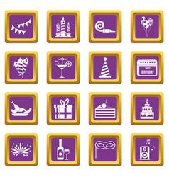 Happy birthday icons set purple vector