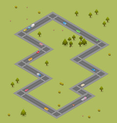 Isometric road with cars and buses traffic vector