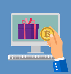 online shopping with bitcoin vector image