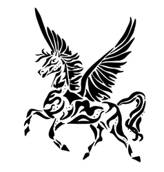 Pegasus for coloring or tattoo vector