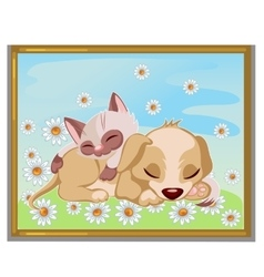 Picture of cute kitten sleeping on a puppy vector image