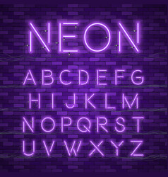 realistic neon alphabet glowing font vector image