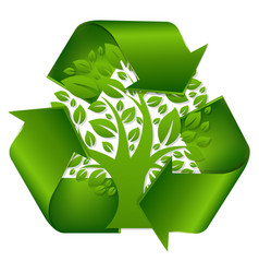 Recycle symbol with tree vector