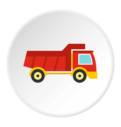 Red toy truck icon circle vector