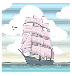 sailboat with scarlet sails vector image vector image