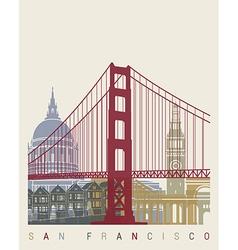 San francisco skyline poster vector