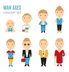 Set of casual man age flat icons vector image vector image