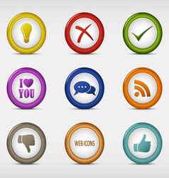 Set of colored round web icons template vector image vector image
