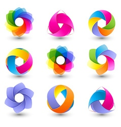Set of colorful abstract icons vector image