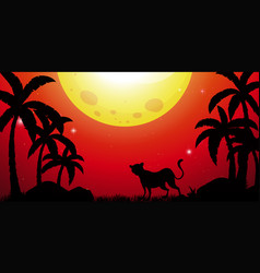 Silhouette scene with cheetah in forest vector