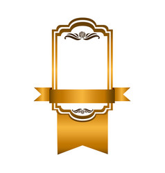 yellow square emblem with ribbon icon vector image