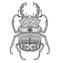 zentangle odontolabis cuvera bug vector image vector image