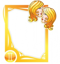 zodiac frame series gemini vector image vector image