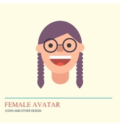 Smiley woman avatar icon in flat style vector
