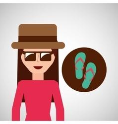 toursit female hat sunglasses flip flops vector image