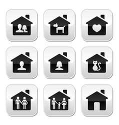 Home family buttons set vector