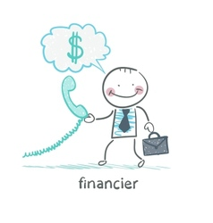 financier talking on the phone and thinks about vector image