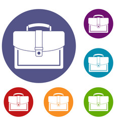 business briefcase icons set vector image