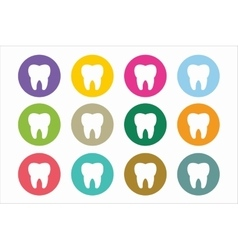 Tooth icon logo set vector