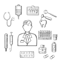 Doctor therapist with medical sketch icons vector